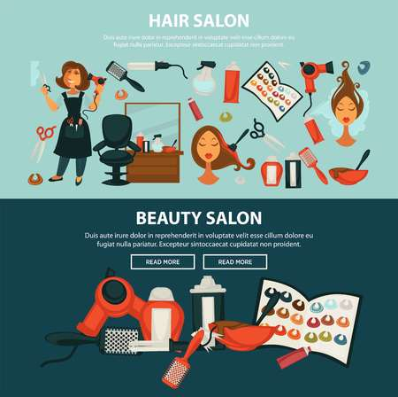Hairdresser beauty salon web banner Illustration