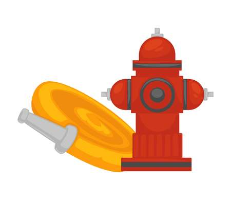 Hydrant and water hose flat icon