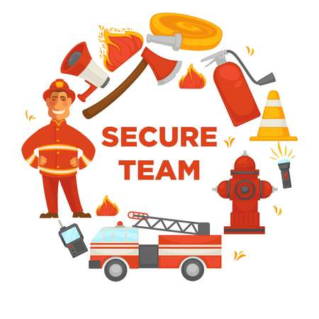 Secure team poster of firefighter extinguishing equipment icons