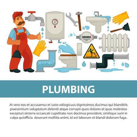 Plumbing service poster Illustration