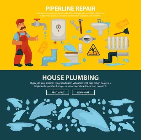 Plumbing service web banners Illustration