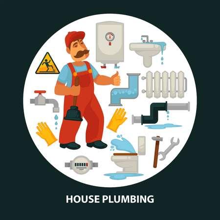 House plumbing service flat poster