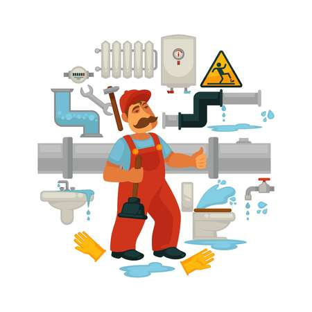 Poster of plumber repair equipment Illustration