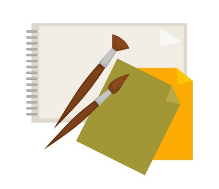 Supplies for painting and paper isolated cartoon illustration Illustration