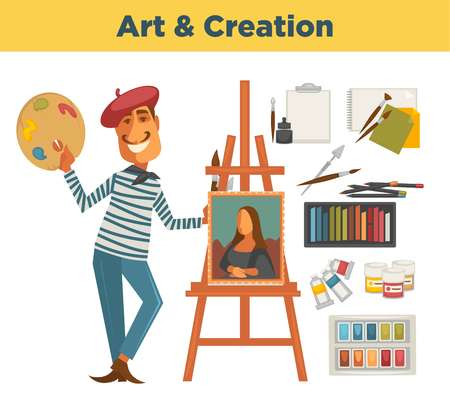 Art and creation promotional poster with painter and his supplies Illustration