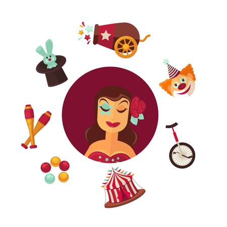 Female circus performer and equipment isolated illustrations set Illustration