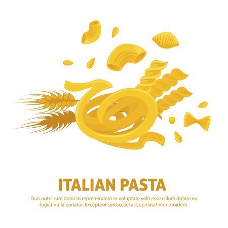 Original delicious exquisite Italian pasta on promotional poster