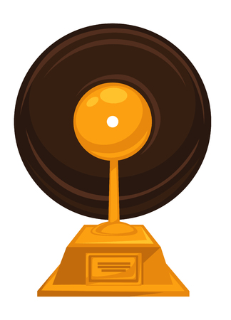 Music award with vintage vinyl disc on top