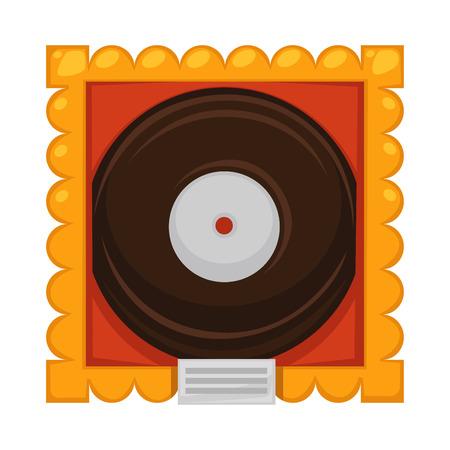 Vinyl disc inside gold frame under glass cover as award