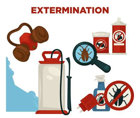 Harmful insects extermination devices and means illustrations set
