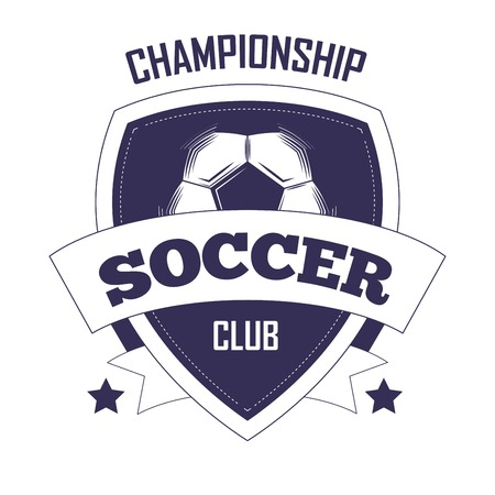 Förderndes einfarbiges Emblem der Fußballvereinmeisterschaft mit Fußball