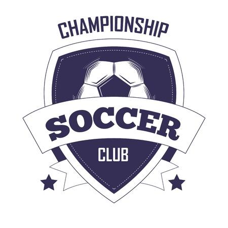 Voetbal club kampioenschap promotionele zwart-wit embleem met voetbal