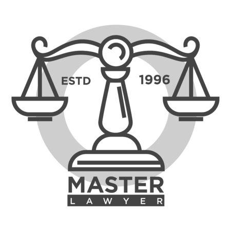 Logotipo de la agencia maestra abogado monocromo promocional con escalas