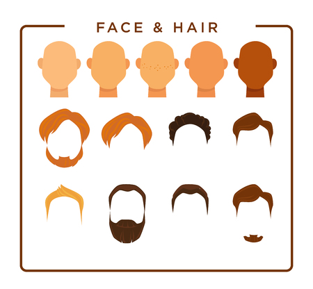 Face of all skin tones and hair of all natural colors with thick beards that have various length for cartoon male character creation isolated flat vector illustrations set on white background.