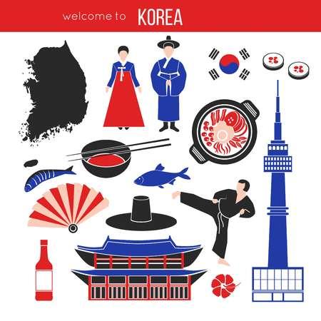 Korean customs and landmarks vector illustration on white Illustration