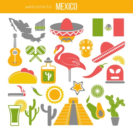 Set of Mexico travel symbols. Mexican flat vector illustrations.