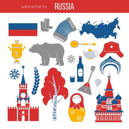 Russia travel destination vector illustration.