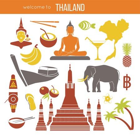 Set of Thailand travel symbols and Bangkok landmarks.