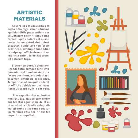 Artist painting tools and artistic materials poster.