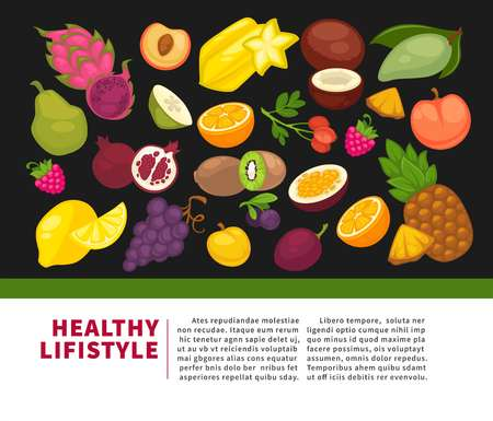 Organic fruits poster of healthy food and farm berries. Illustration