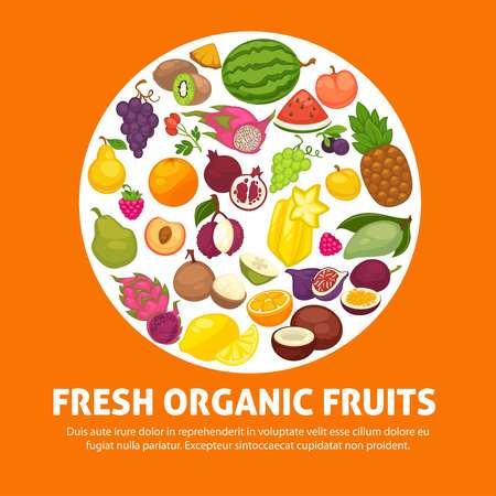 Organic fruits and berries harvest poster of fresh apple and mango or pineapple, natural pear, grape and tropical banana. Illustration