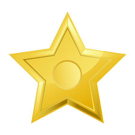 Shiny bright five-pointed star flat vector illustration Ilustração