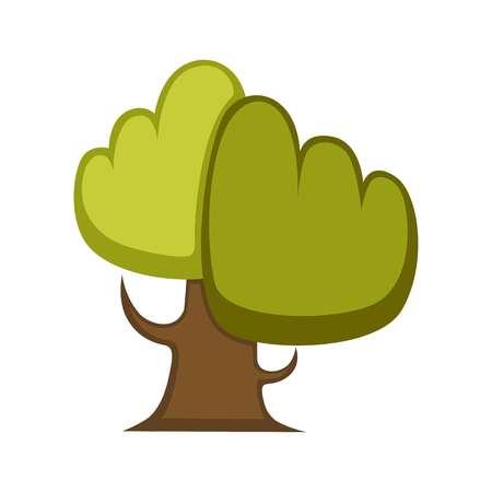 緑の木と木の葉のアイコンまたはロゴ テンプレート。  イラスト・ベクター素材