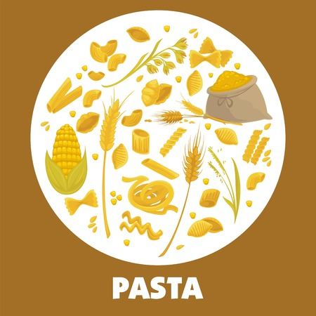 Exquisite delicious Italian pasta advertisement poster with pastry products Illustration