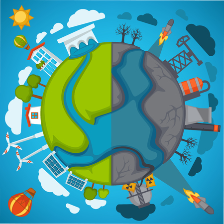 Green eco planet and environment pollution vector poster for save nature protection concept Banco de Imagens - 90821627