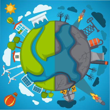Green eco planet and environmental pollution vector poster para salvar o conceito de proteção da natureza