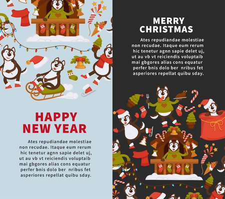 Merry Christmas And Happy New Year 2018 Vector Posters Of Dog Cartoon Funny  Character Celebrating Holidays