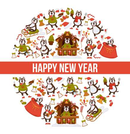 2018 Happy New Year greeting card of vector dog cartoon character celebrating holiday