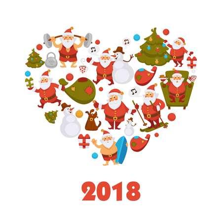 2018 New Year Santa cartoon character celebrating Christmas winter holiday vector greeting card design