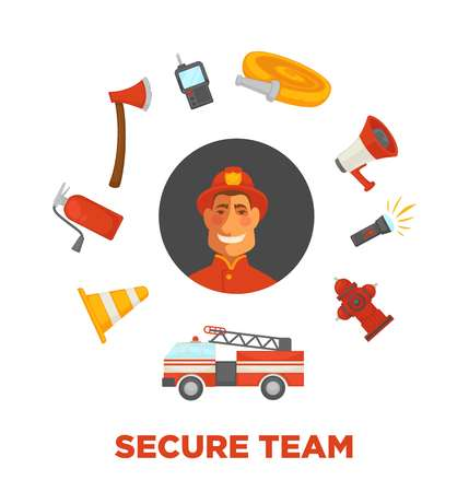 Firefighting and fire secure team poster of firefighter extinguishing equipment vector flat icons