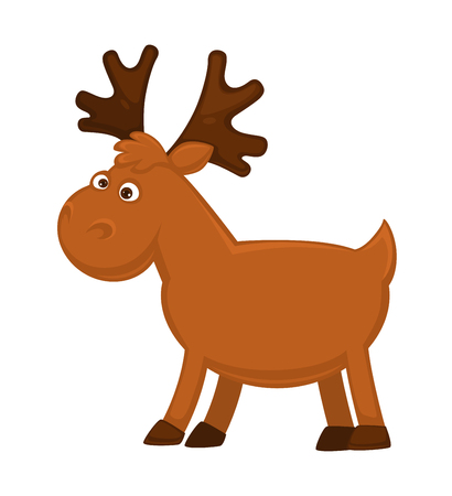 Funny little moose with big branchy horns and small tail Illustration
