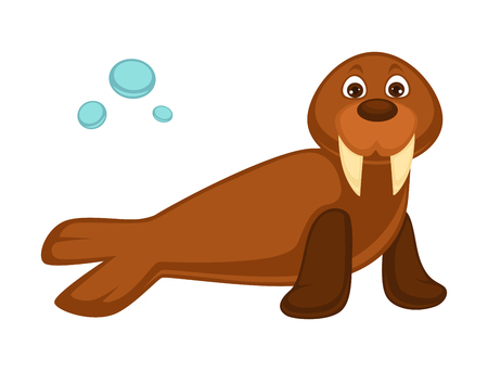 Walrus baby with long fangs and pair of flippers Illustration
