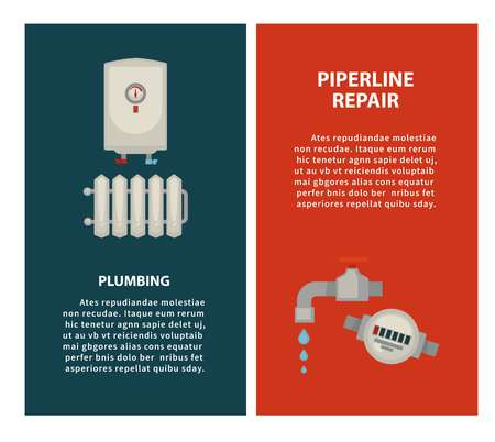 Plumbing and piperline repair vertical illustrated promotional posters Illustration