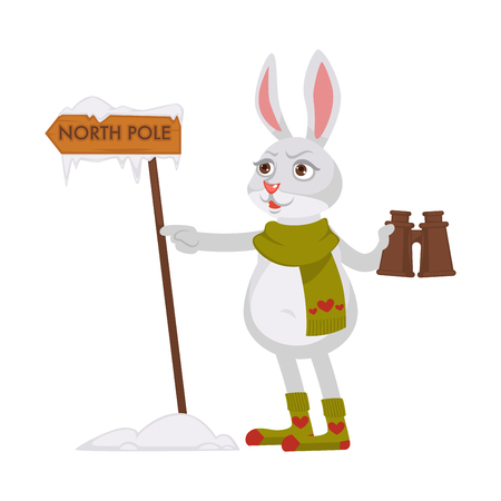 Bunny in knitted scarf and socks with hearts pattern holds pair of binoculars stands beside wooden signboard with North Pole sign isolated cartoon flat vector illustration on white background.