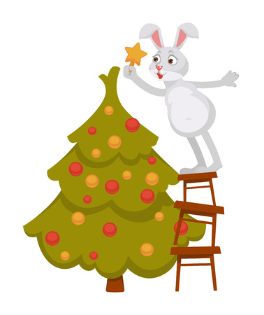 Funny bunny decorates Christmas tree and stands on pyramid of stools. Animal hangs gold star on top of fur with decorative balls isolated cartoon flat vector illustration on white background. Illustration