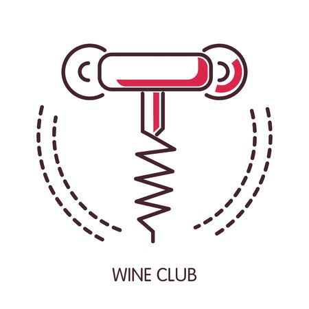 Wine club promotional emblem with simple corkscrew outline isolated cartoon flat vector illustration on white background. Exquisite drink admires community minimalistic advertisement logotype. Ilustração