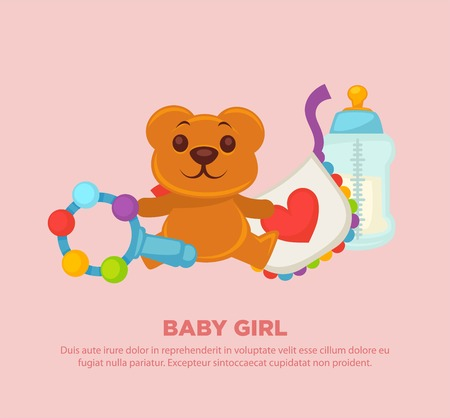 Toys for newborn baby girl on promotional poster. Colorful rattle, soft teddy bear, textile bib with red heart and transparent bottle for milk cartoon flat vector illustrations on blue background. Illustration