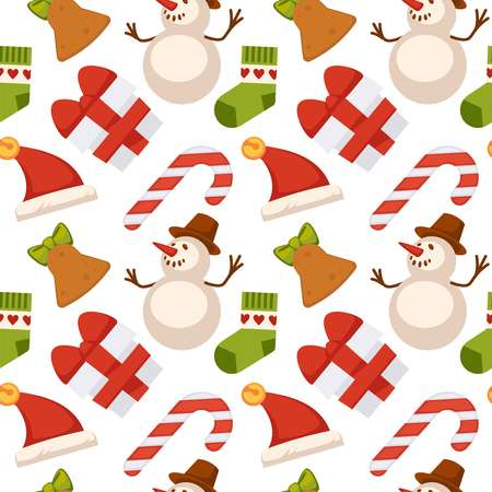 Christmas seamless pattern composed of gift boxes tied with ribbon, decorative toys for festive tree, delicious treats and lighted candles isolated cartoon vector illustrations on white background.