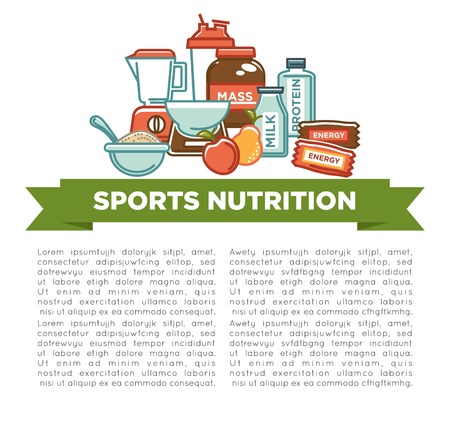 Sports nutrition and fitness gym dietary supplements poster.