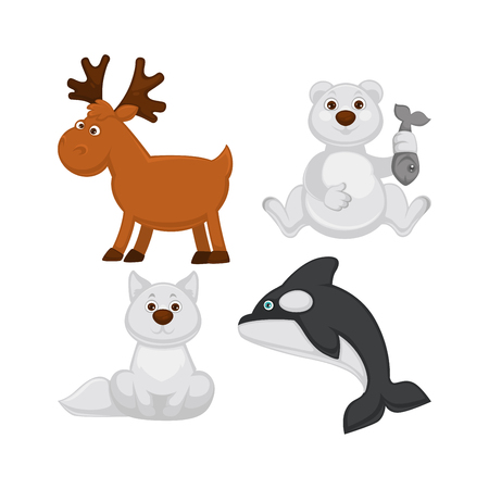 Adorable baby animals from cold countries. Moose with branchy horns, polar bear with fish in paw, albino fox with fluffy tail and killer whale that has blue eyes isolated vector illustrations set. Illustration