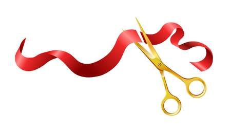 Long silk red wavy ribbon and gold sharp shiny scissors that cuts it in two pieces isolated cartoon flat vector illustration on white background. Symbolic objects for festive opening ceremony. Illustration