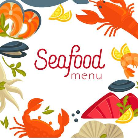 Seafood menu cover with exotic food as frame around sign. Delicious salmon, big lobster, oysters in shell, fresh squid, ocean crab, king shrimp and lemon slices cartoon flat vector illustrations.