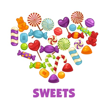 Delicious sweets and lollipops in heart shape poster. Tasty caramel candies on wooden sticks, striped Christmas canes and soft jelly bears cartoon flat vector illustration on white background. Illustration