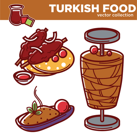 Turkish food vector collection of tasty nutritious dishes. Delicious meet on bone with pita bread, minced chicken on skewer for shawarma and hot rice with spices cartoon flat vector illustrations set.