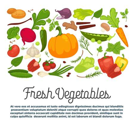 Fresh vegetables advertisement with organic healthy vegetarian products and greenery from farm full of vitamins isolated cartoon flat vector illustrations with sample text on white background.