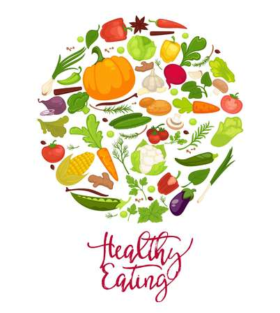 Healthy eating agitation poster with fresh organic vegetables put in big circle. Nutritious rich harvest from farm full of vitamins isolated cartoon flat vector illustration on white background. Illusztráció